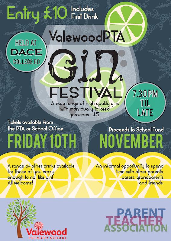 VAlewood PTA gin festival poster