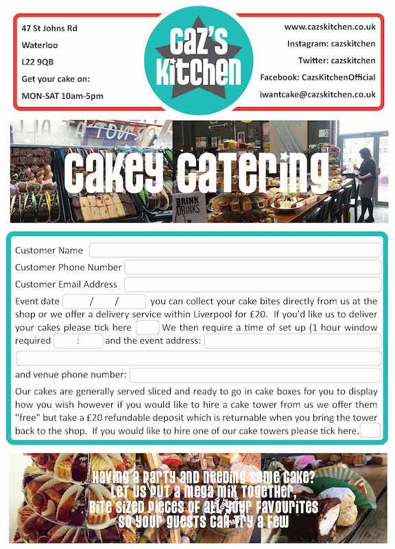 cazs kitchen order form