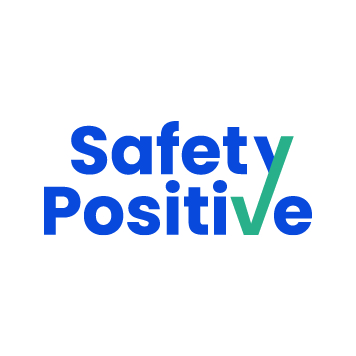 blue safety positive logo with turquoise tick for v and y