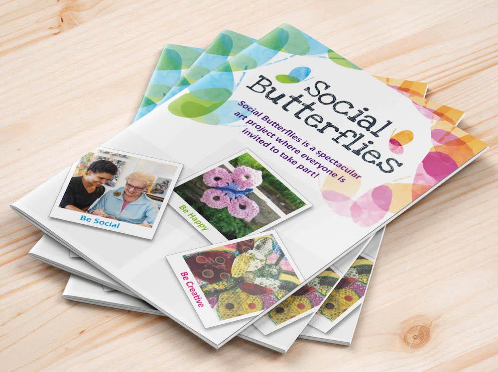 mock up of social butterflies leaflets