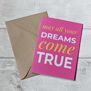 dreams come true pink card