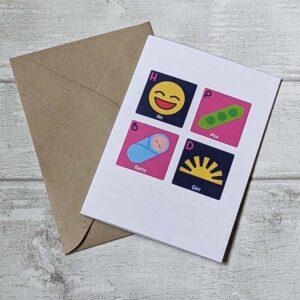 ha pea birth day card pink